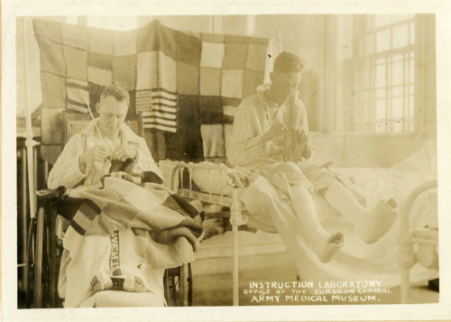 Recovering soldiers knitting